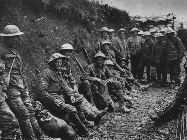 Photo: a ration party of the Royal Irish Rifles in a communication trench during the Battle of the Somme. The date is believed to be 1 July 1916, the first day on the Somme. Credit: Royal Engineers No 1 Printing Company; Wikimedia Commons.