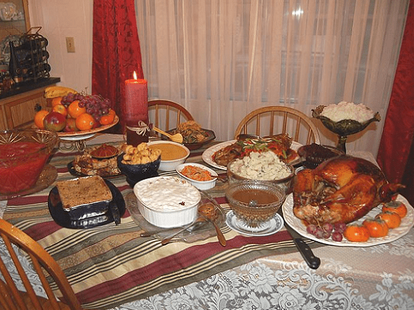 Photo: traditional Thanksgiving dinner. Credit: Ms. Jones; Wikimedia Commons.