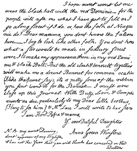 "Photo: a 1771 letter from Anna Green Winslow in her own handwriting, which appeared in the 1894 edition of her ""diary"""