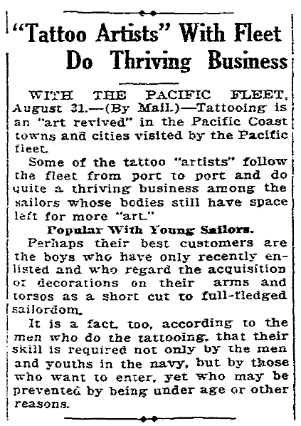 An article about tattoos, Sacramento Bee newspaper article 3 September 1919