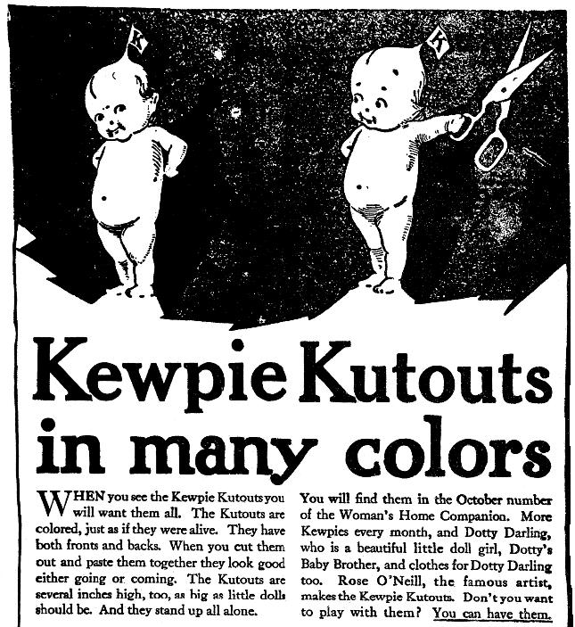An ad for Kewpie dolls, Springfield Union newspaper advertisement 20 September 1912