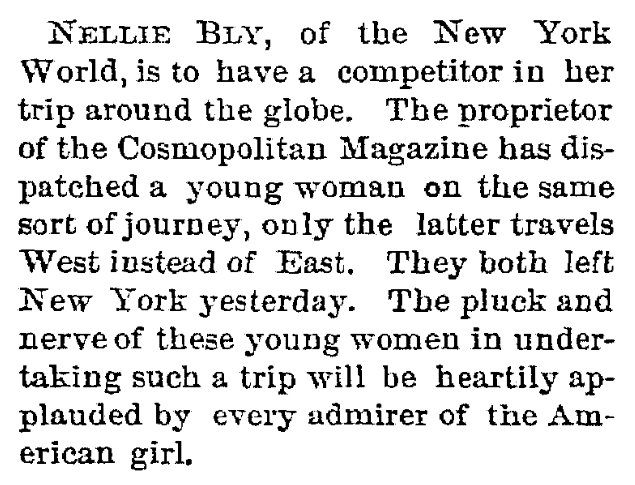 An article about Nellie Bly, Trenton Evening Times newspaper article 15 November 1889