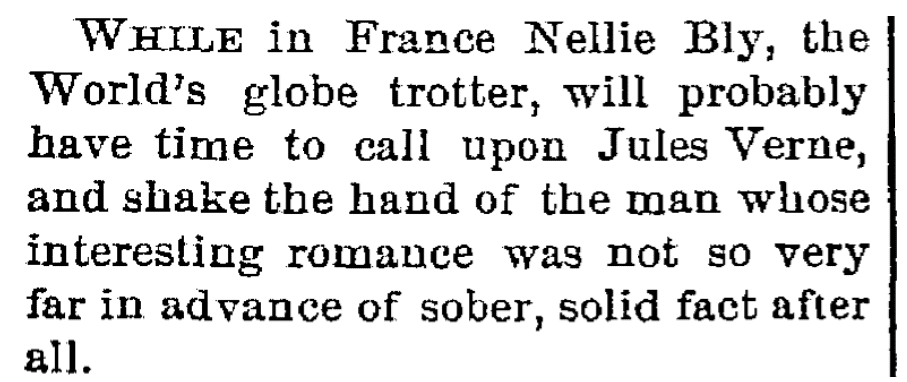 An article about Nellie Bly, Trenton Evening Times newspaper article 22 November 1889
