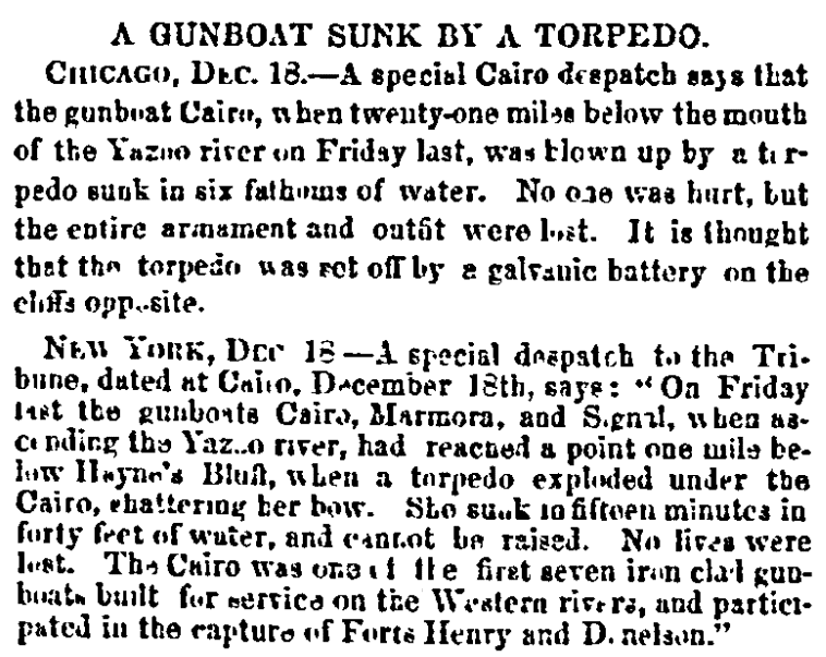An article about the sinking of the USS Cairo during the Civil War, Daily National Intelligencer newspaper article 19 December 1862