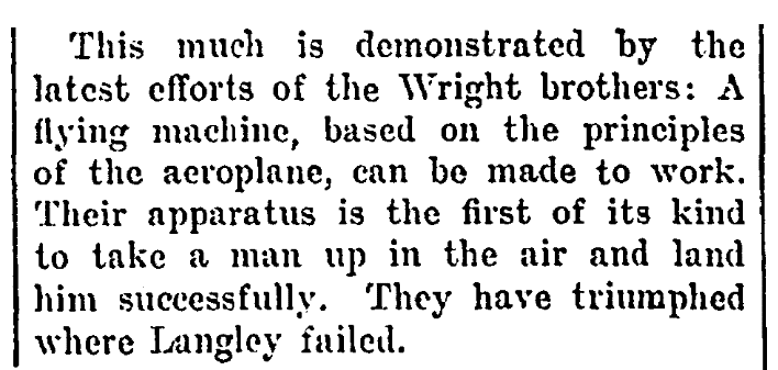 An article about the Wright brothers historic first flight, Daily People newspaper article 14 February 1904