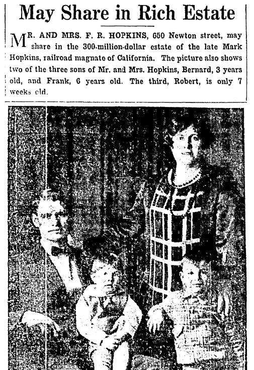 An article about the estate of Mark Hopkins, Denver Post newspaper article 20 December 1926