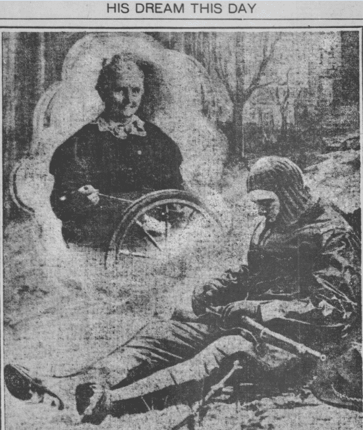 Photo: Anna White spinning yarn for WWI soldiers, Detroit Times newspaper article 25 December 1917