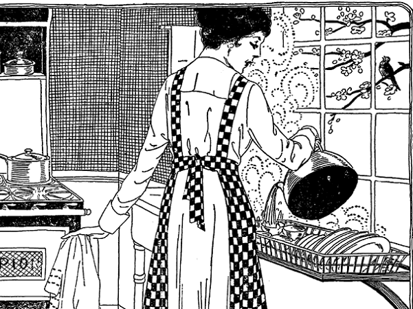 Illustration: a woman washing dishes