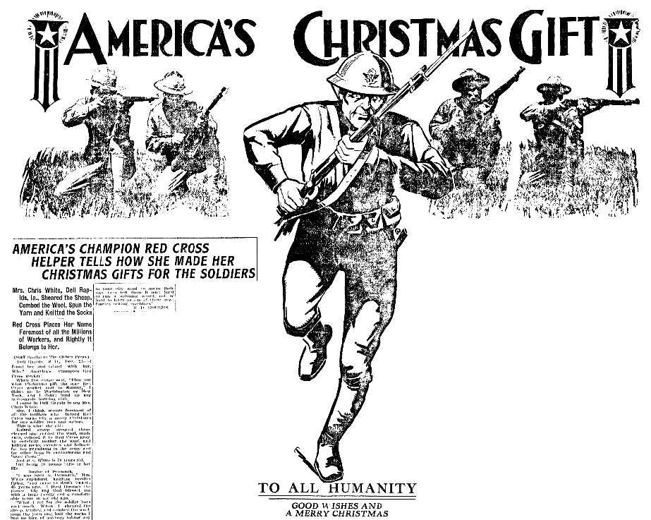 An article about knitting on the home front for soldiers in WWI, Jackson Citizen Patriot newspaper article 25 December 1917
