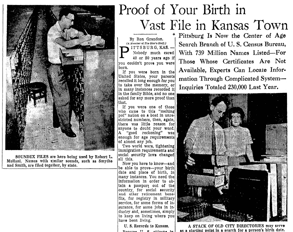 An article about Soundex and the census, Kansas City Star newspaper article 28 September 1958