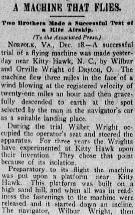 An article about the Wright brothers historic first flight, Kansas City Star newspaper article 18 December 1903