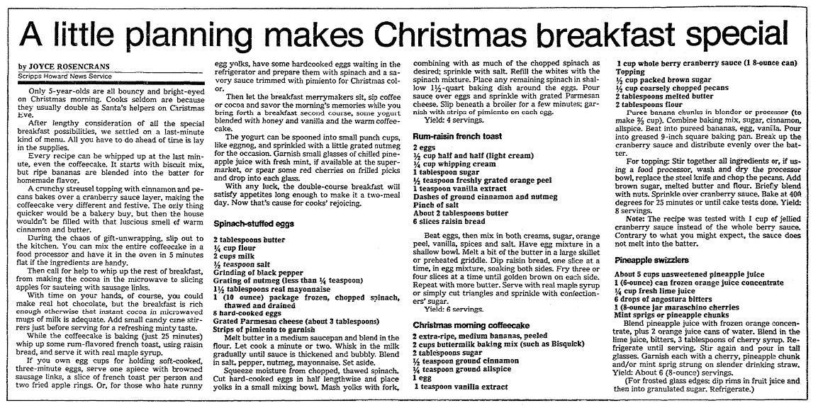 Recipes for Christmas breakfast, Knoxville News-Sentinel newspaper article 23 December 1987