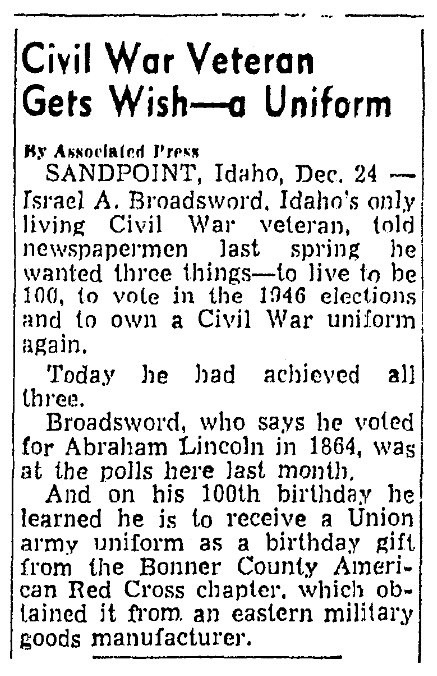 An article about Israel Broadsword, Knoxville News-Sentinel newspaper article 24 December 1946