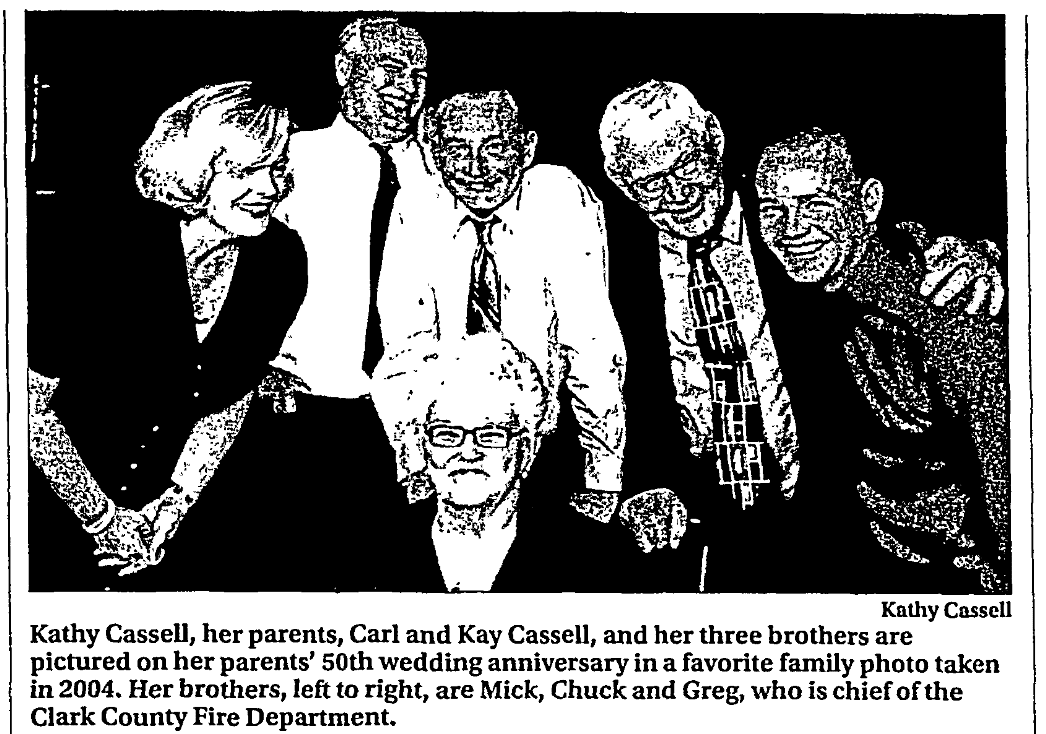 An article about the Cassell's 50th wedding anniversary, Las Vegas Review-Journal newspaper article 24 December 2017