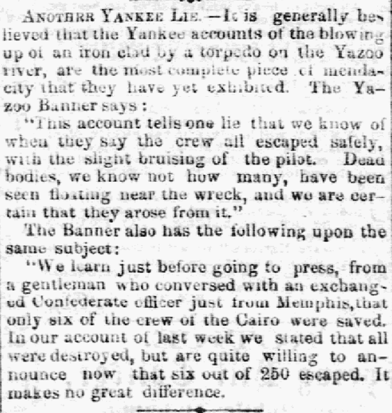 An article about the sinking of the USS Cairo during the Civil War, Macon Telegraph newspaper article 8 January 1863