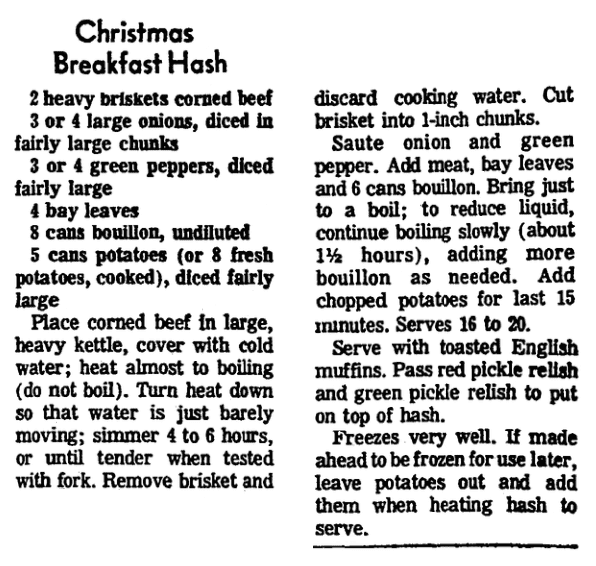 A recipe for Christmas Breakfast Hash, Morning Star newspaper article 28 November 1974