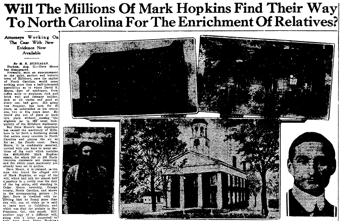 An article about the estate of Mark Hopkins, News and Observer newspaper article 22 August 1926