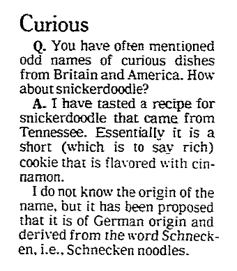 An article about snickerdoodles, Omaha World-Herald newspaper article 27 May 1980