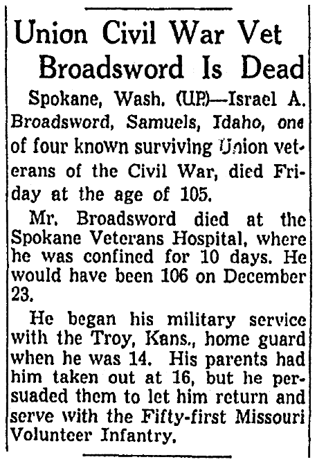 An obituary for Israel Broadsword, Omaha World-Herald newspaper article 26 July 1952