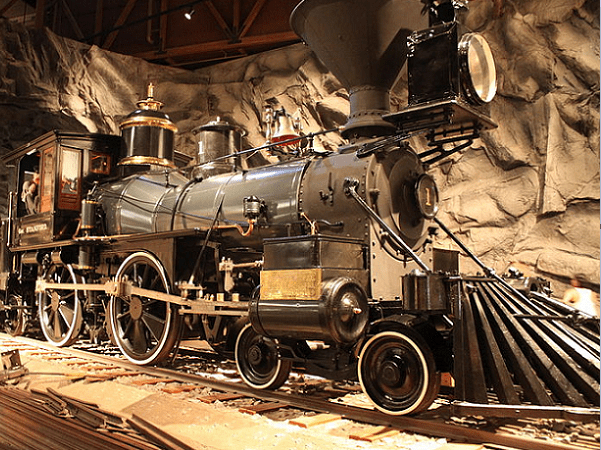 Gov. Stanford Locomotive at the California State Railroad Museum. It was the Central Pacific Railroad's first locomotive and it is named in honor of the road's first president and ex-California governor, Leland Stanford. Credit: BenFranske; Wikimedia Commons.