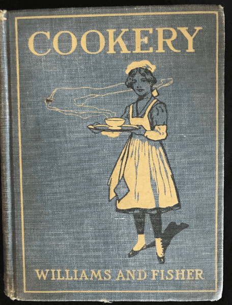 "Photo: cover of ""Elements of the Theory and Practice of Cookery"" by Mary E. Williams and Katharine Bolston Fisher"
