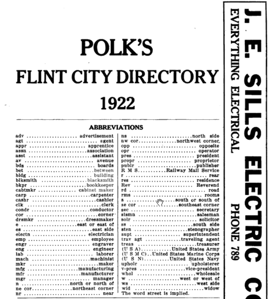 Photo: abbreviations page from the 1922 Flint, Michigan, city directory