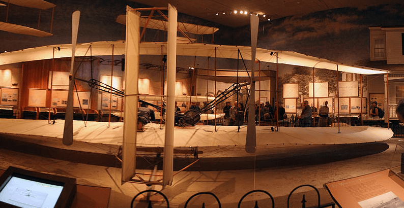 Photo: the original 1903 Wright Flyer in the National Air and Space Museum in Washington, D.C.