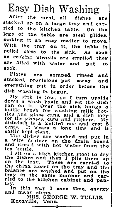 An article about washing dishes, Plain Dealer newspaper article 6 June 1915