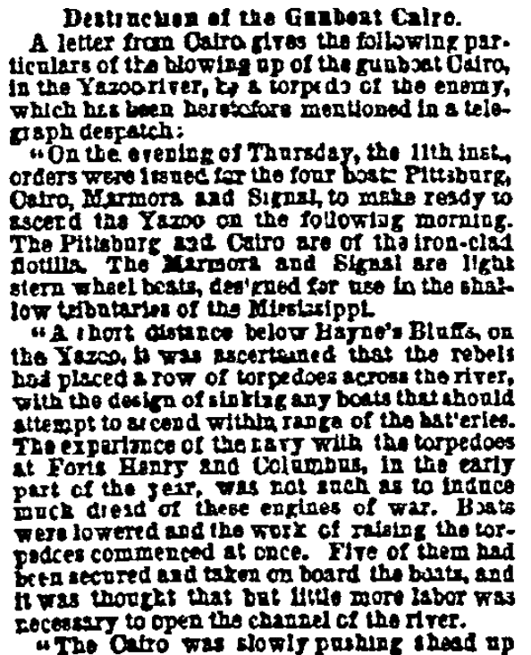 An article about the sinking of the USS Cairo during the Civil War, Public Ledger newspaper article 24 December 1862
