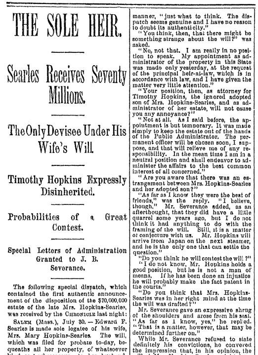 An article about Edward Francis Searles, San Francisco Chronicle newspaper article 31 July 1891