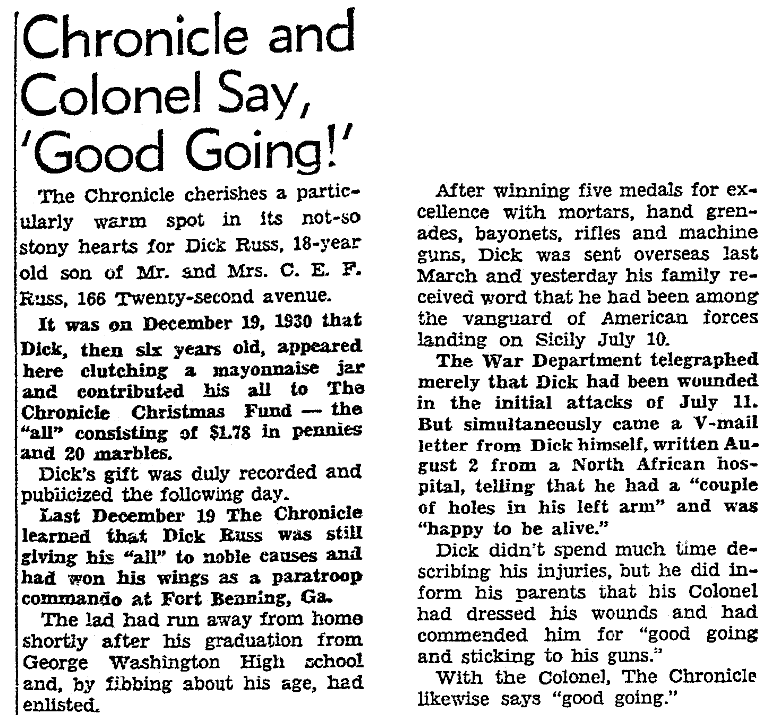 An article about Dick Russ, San Francisco Chronicle newspaper article 10 September 1943