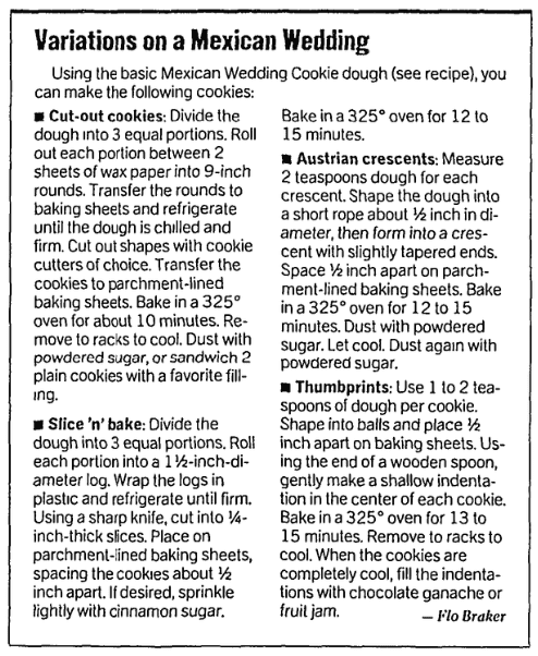Cookie recipes, San Francisco Chronicle newspaper article 2 October 2002