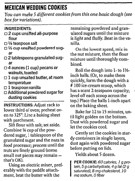 A cookie recipe, San Francisco Chronicle newspaper article 2 October 2002