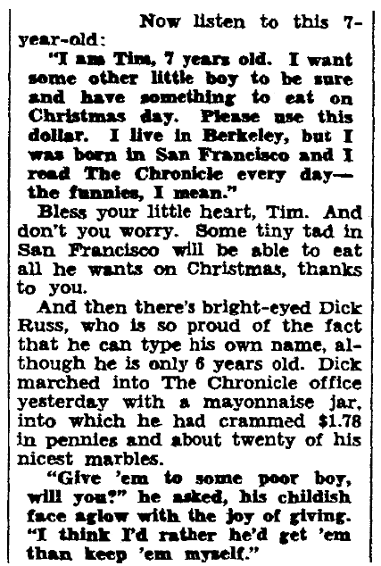 An article about Dick Russ, San Francisco Chronicle newspaper article 19 December 1930