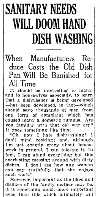 An article about washing dishes, Springfield Republican newspaper article 14 December 1930