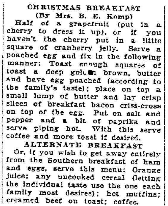 Recipes for Christmas breakfast, Times-Picayune newspaper article 18 December 1926