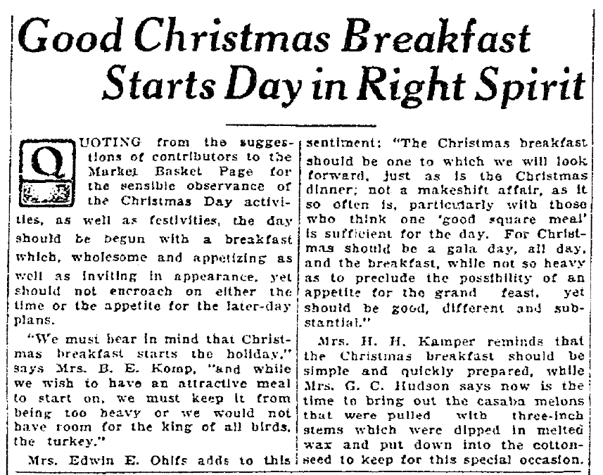 An article about Christmas Breakfast, Times-Picayune newspaper article 18 December 1926