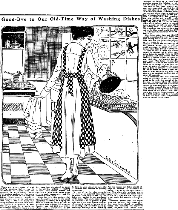 An article about washing dishes, Trenton Evening Times newspaper article 24 April 1919