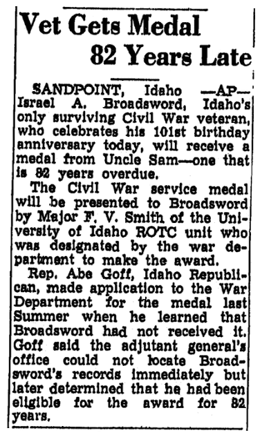 An article about Israel Broadsword, Trenton Evening Times newspaper article 23 December 1947