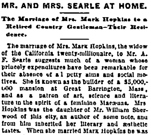 An article about Mary and Edward Searles, Boston Journal newspaper article 10 November 1887