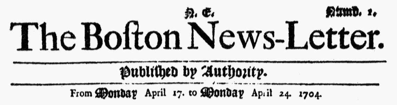 Masthead for Boston News-Letter newspaper 24 April 1704