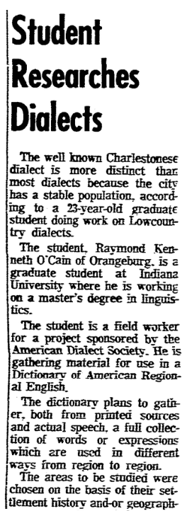An article about the Dictionary of American Regional English, Charleston News and Courier newspaper article 19 July 1966