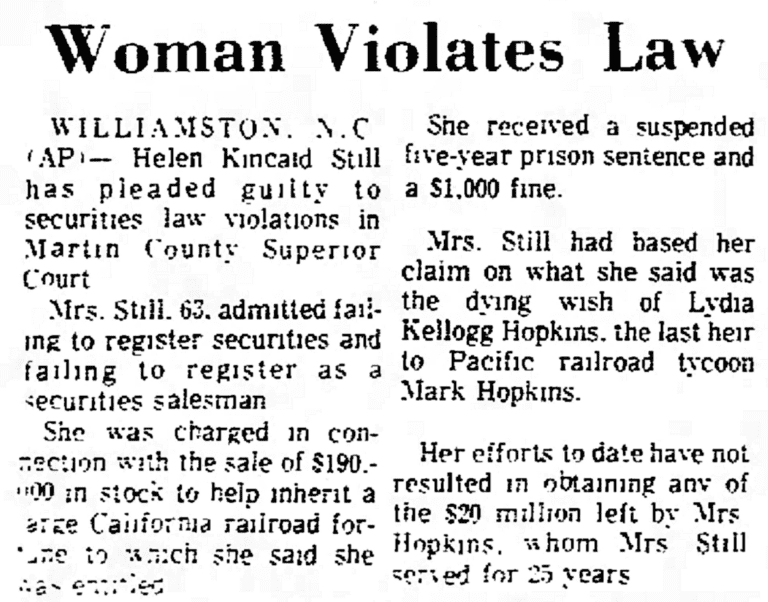 An article about Helen Kincaid Still, Daily Times-News newspaper article 28 June 1974