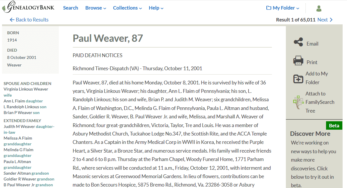 A screenshot of GenealogyBank showing an obituary for Paul Weaver