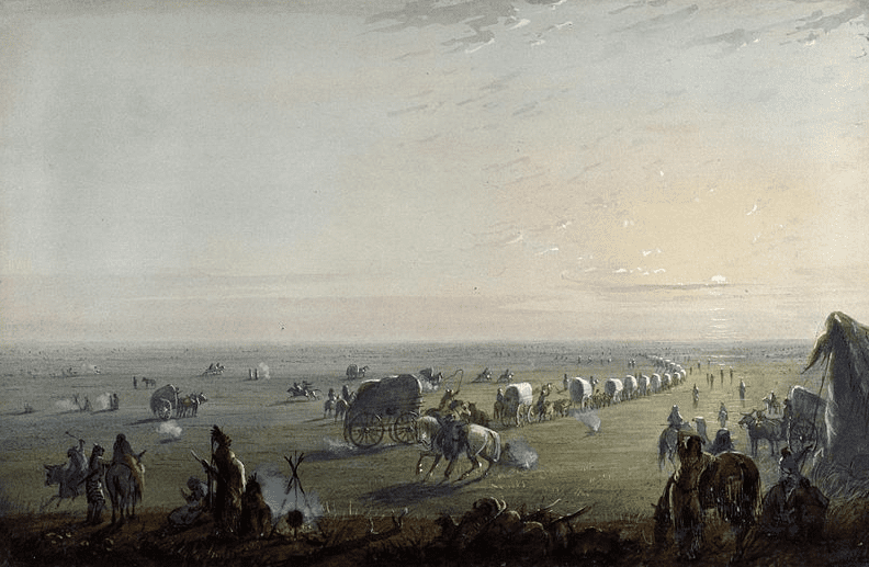 """Illustration: """"Breaking Up Camp at Sunrise,"""" by Alfred Jacob Miller, c. 1859"""