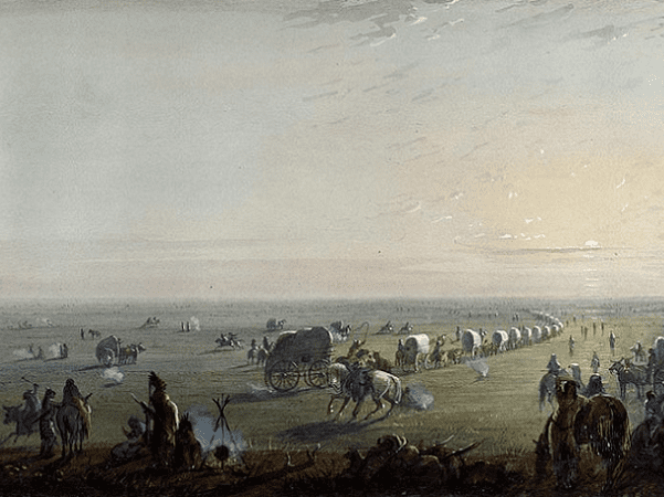 """Illustration: """"Breaking Up Camp at Sunrise,"""" by Alfred Jacob Miller, c. 1859. Credit: Walters Art Museum; Wikimedia Commons."""