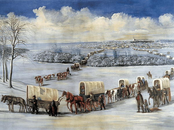 """Illustration: """"Crossing the Mississippi on the Ice"""" by C. C. A. Christensen, c. 1878. Credit: Brigham Young University Museum of Art; Wikimedia Commons."""