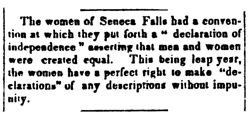 An article about the Seneca Falls Convention, Jeffersonian Republican newspaper article 10 August 1848