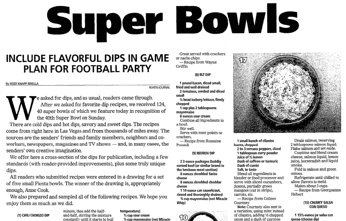 Dip recipes, Las Vegas Review-Journal newspaper article 1 February 2006