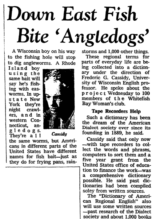 An article about the Dictionary of American Regional English, Milwaukee Journal newspaper article 5 January 1967